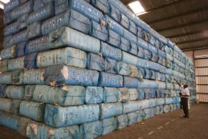 Benin Cotonou Projekt - Cotton Made in Africa Baumwollterminal im Hafen - Hafenarbeiter zählt die Ballen mit Baumwolle bevor sie in Container verladen werden