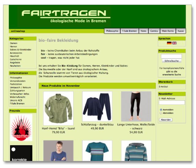 fairtragen Green Fashion Online Shop und Laden in Bremen