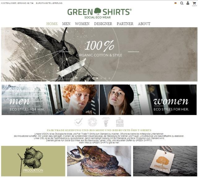 GREEN SHIRTS - Webseite und Online-Shop